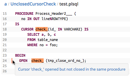 Unclosed Cursor Finding in the Code